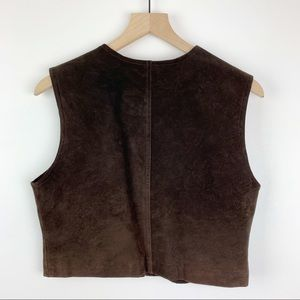 Vintage Jackets & Coats - Vintage Leather Cropped Vest Chocolate Brown M